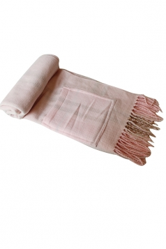 Womens Fashion Fringe Plaid Shawl Cape Scarf Pink