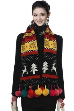 Womens Reindeer Pattern Pom Pom Christmas Scarf Black
