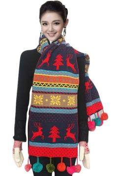 Womens Reindeer Pattern Pom Pom Christmas Scarf Navy Blue