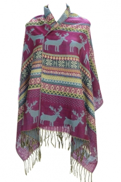 Womens Fringe Reindeer Pattern Christmas Shawl Wrap Scarf Purple