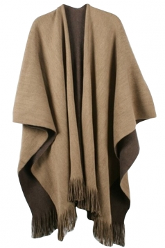 Womens Simple Fringe Shawl Wrap Poncho Coffee