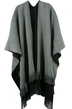 Womens Simple Fringe Shawl Wrap Poncho Gray