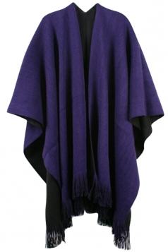 Womens Simple Fringe Shawl Wrap Poncho Purple
