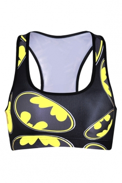 Womens Wireless Batman Printed Sports Crop Top Yellow