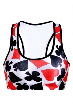 Womens Wireless Poker Printed Sports Crop Top Red