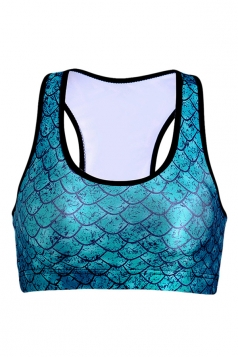 Womens Wireless Fish Scale Printed Sports Crop Top Blue