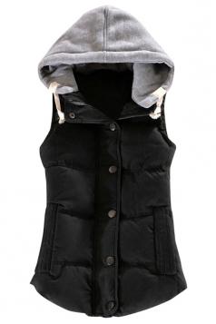 Ladies Single-breasted Chic Slimming Hoodie Vest Black
