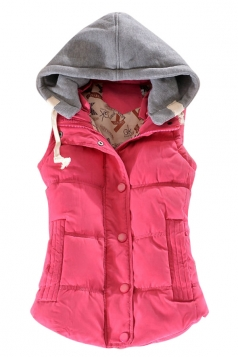 Ladies Single-breasted Chic Slimming Hoodie Vest Rose Red