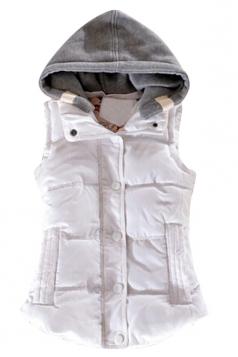 Ladies Single-breasted Chic Slimming Hoodie Vest White