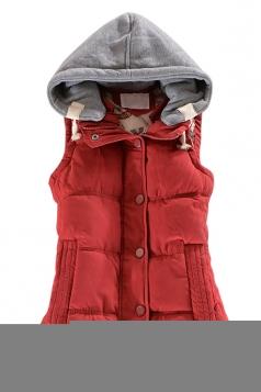 Ladies Single-breasted Chic Slimming Hoodie Vest Ruby