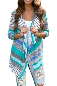 Womens Long Sleeve Knitted Coral Geometric Print Cardigan Blue