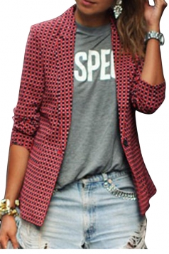 Womens Casual Turndown Collar Plaid Long Sleeve Blazer Red