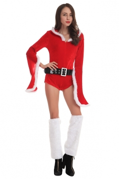 Womens Sexy Flare Sleeve Hooded Santa Christmas Bodysuit Red