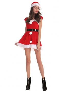 Womens Sexy Short Sleeve Santa Christmas Dress Red