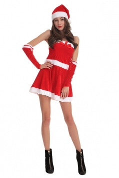 Womens Sexy Spaghetti Straps Santa Christmas Dress Red