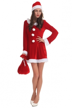 Womens Long Sleeve Sack Santa Christmas Party Dress Red