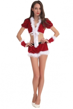 Womens Sexy Short Sleeve Crop Top Santa Christmas Costume Red