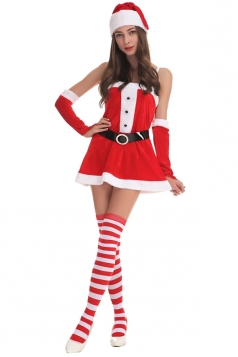 Womens Sexy Spaghetti Straps Santa Claus Dress Red