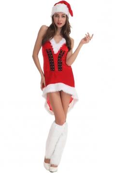 Womens Sexy V Neck Halter Santa Christmas Dress Red