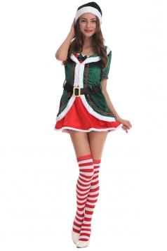 Womens Cute Short Sleeve Christmas Tree Dress Green
