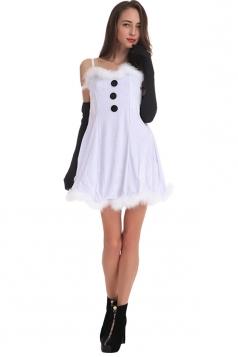 Womens Sexy Fuzzy Frozen Snowman Costume White