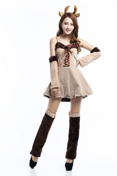 Womens Sexy Lace Up Christmas Reindeer Costume Khaki