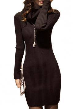 Womens Draped Neck Long Sleeve Crochet Sweater Dress Black