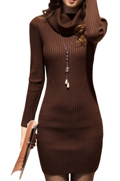 Womens Draped Neck Long Sleeve Crochet Sweater Dress Coffee