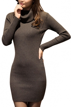 Womens Draped Neck Long Sleeve Crochet Sweater Dress Gray
