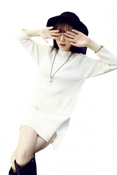 Womens Long Sleeve Side Slit Pockets Sweater Dress White
