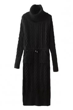 Womens Cowl Neck Drawstring Waist Long Sleeve Sweater Dress Black