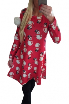 Womens Crewneck Snowman Printed Ugly Christmas Midi Dress Red