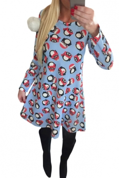 Womens Crewneck Christmas Penguin Printed Long Sleeve Midi Dress Blue