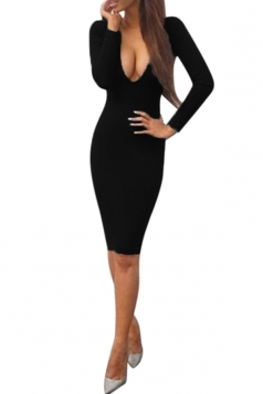 Womens Sexy Plunging Neckline Long Sleeve Bodycon Dress Black
