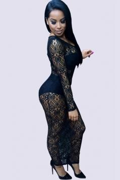Womens Crewneck Lace Embroidery Side Slit Maxi Dress Black