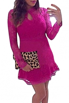 Womens Sexy Lace Hollow Out Cocktail Dress Rose Red