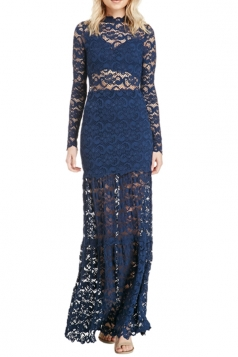 Womens Long Sleeve Lace Patchwork Maxi Evening Dress Blue