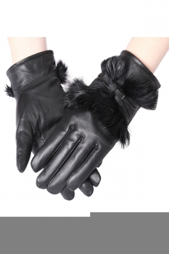 Womens Lined Rabbit Hair Bow Winter Gloves Black