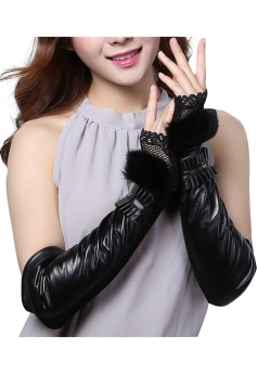 Womens Pretty Lace Rabbit Hair Over Elbow Gloves Black