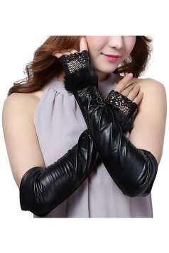 Womens Pretty Lace Mitten Over Elbow Gloves Black