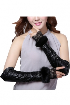 Womens Elegant Rabbit Hair Mitten Over Elbow Gloves Black