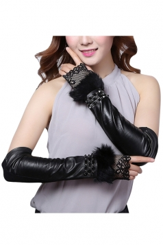 Womens Elegant Rivet Mitten Over Elbow Gloves Black