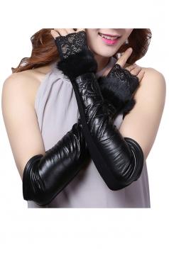 Womens Pretty Rabbit Hair Lace Mitten Over Elbow Gloves Black
