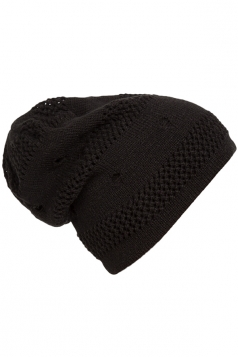 Womens Casual Cut Out Knitted Beanie Hat Black