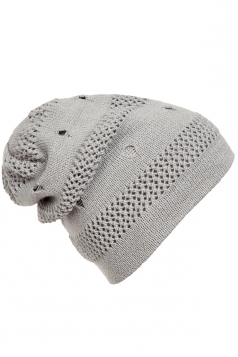 Womens Casual Cut Out Knitted Beanie Hat Light Gray
