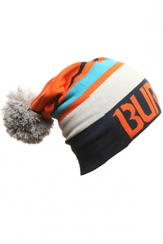 Womens Color Block Pom Pom Knitted Beanie Hat Orange
