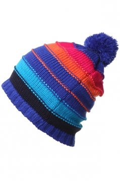 Womens Casual Color Block Knitted Beanie Hat Blue