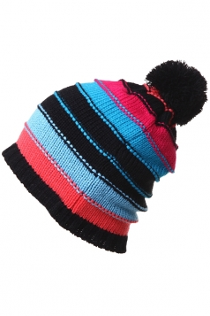 Womens Casual Color Block Knitted Beanie Hat Black