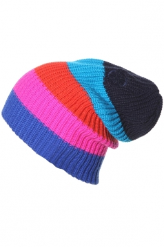 Womens Pretty Color Block Ski Knitted Beanie Hat Navy Blue