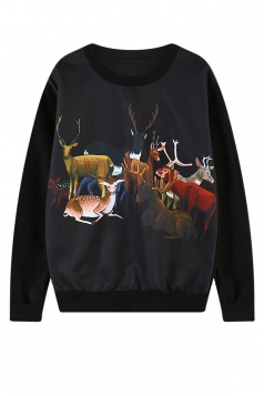 Womens Crewneck Long Sleeve Deer Printed Pullover Sweatshirt Black